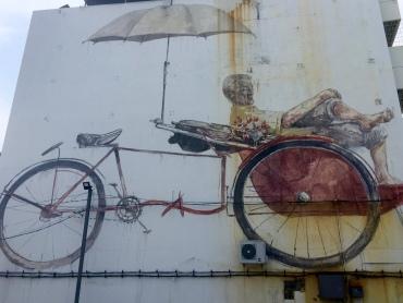 """Awaiting Trishaw Peddler"" by Ernest Zacharevic (on Jalan Penang)"
