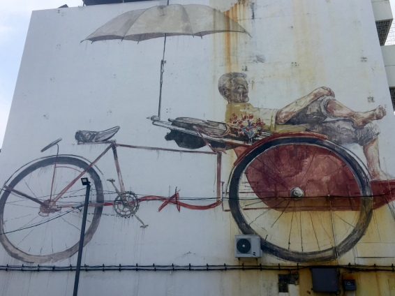 """Awaiting Trishaw Peddler"" by Ernest Zacharevic (on Jalan Penang)"