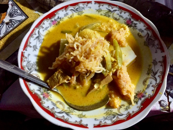 One of my favorite dishes, lontong, for $0.60