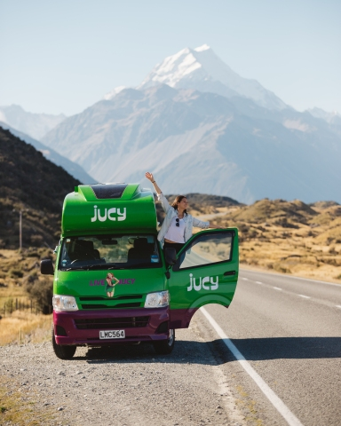 Our van with Mt. Cook in the background (photo by Disa Wold, @disa)